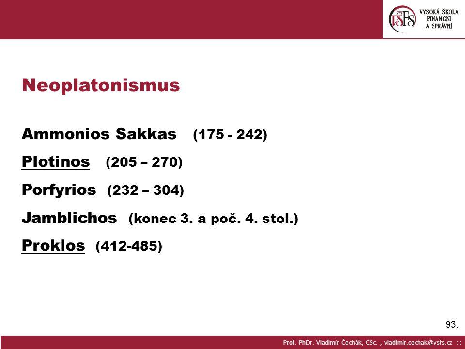 Neoplatonismus Ammonios Sakkas (175 - 242) Plotinos (205 – 270)