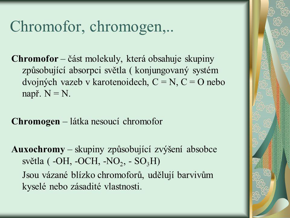 Chromofor, chromogen,..
