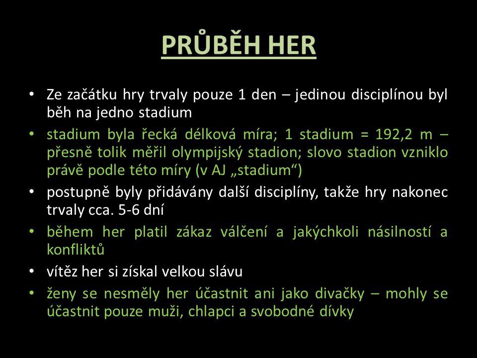 PRŮBĚH HER Ze začátku hry trvaly pouze 1 den – jedinou disciplínou byl běh na jedno stadium.