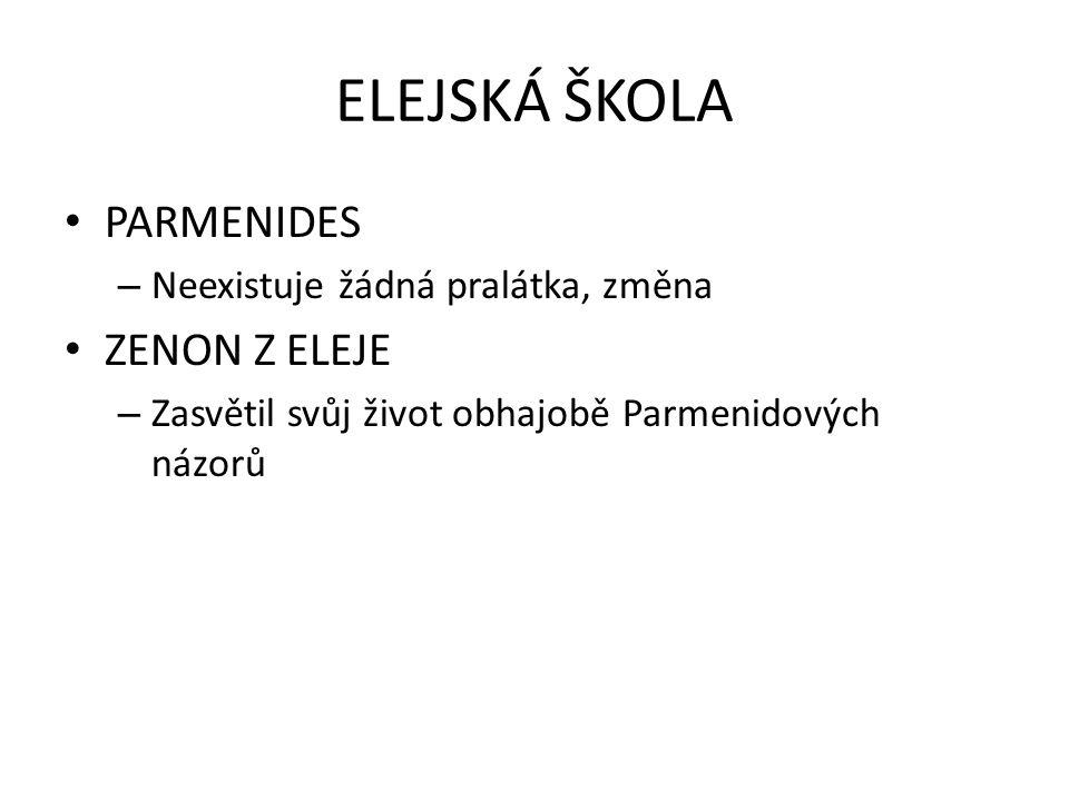 ELEJSKÁ ŠKOLA PARMENIDES ZENON Z ELEJE