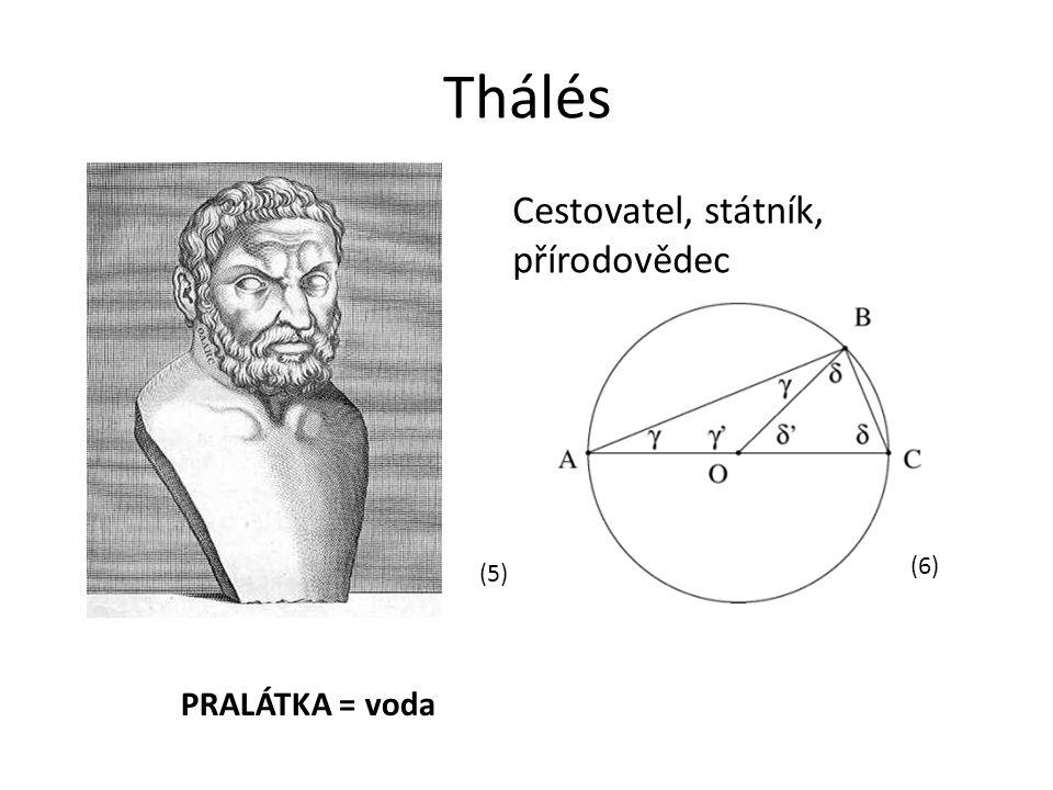 Thálés Cestovatel, státník, přírodovědec (6) (5) PRALÁTKA = voda
