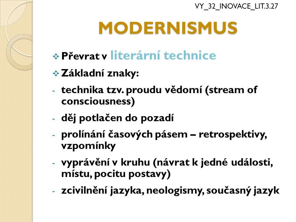 MODERNISMUS Převrat v literární technice Základní znaky: