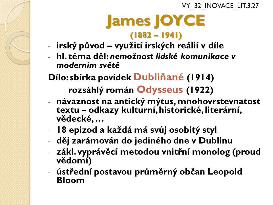 James JOYCE irský původ – využití irských reálií v díle