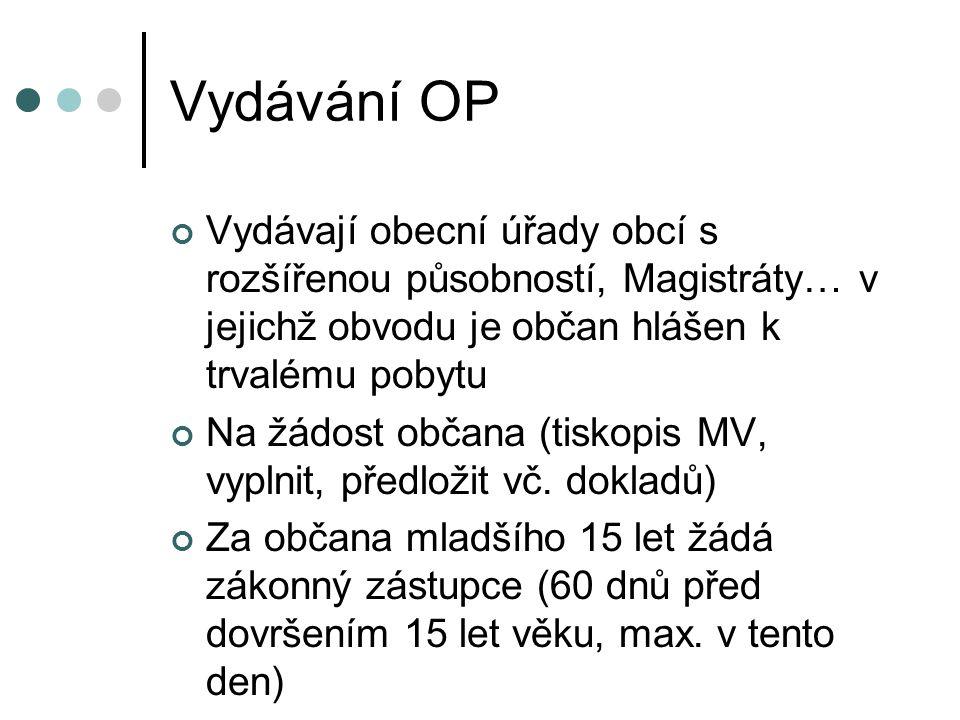 Vydávání OP Vydávají obecní úřady obcí s rozšířenou působností, Magistráty… v jejichž obvodu je občan hlášen k trvalému pobytu.