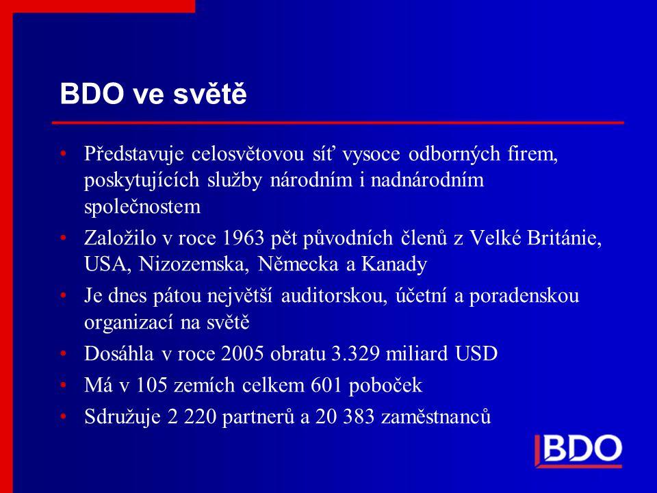 BDO ve světě Představuje celosvětovou síť vysoce odborných firem, poskytujících služby národním i nadnárodním společnostem.