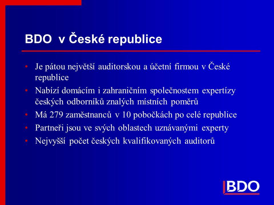 BDO v České republice Je pátou největší auditorskou a účetní firmou v České republice.