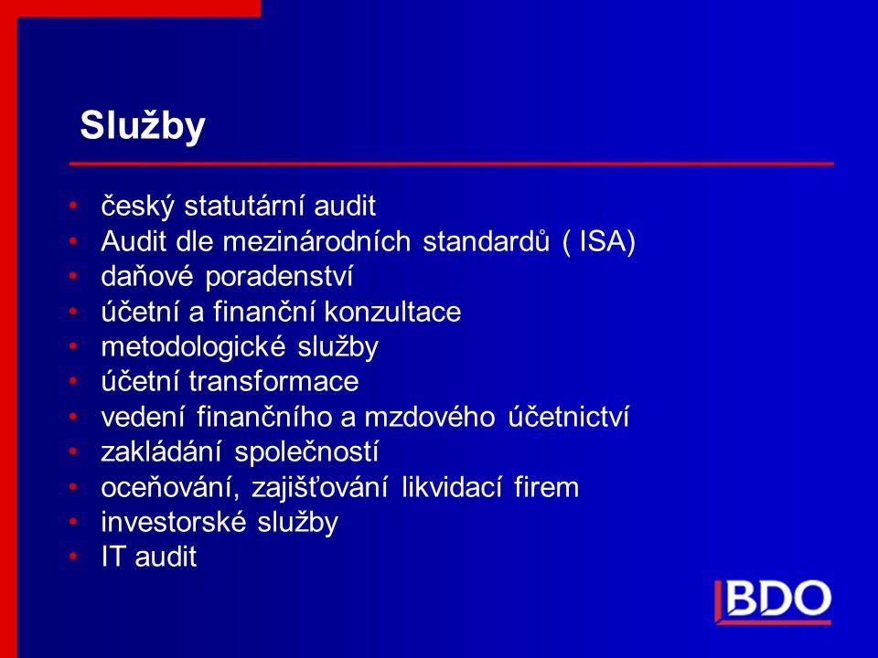 Služby český statutární audit Audit dle mezinárodních standardů ( ISA)