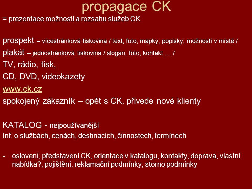 propagace CK = prezentace možností a rozsahu služeb CK. prospekt – vícestránková tiskovina / text, foto, mapky, popisky, možnosti v místě /