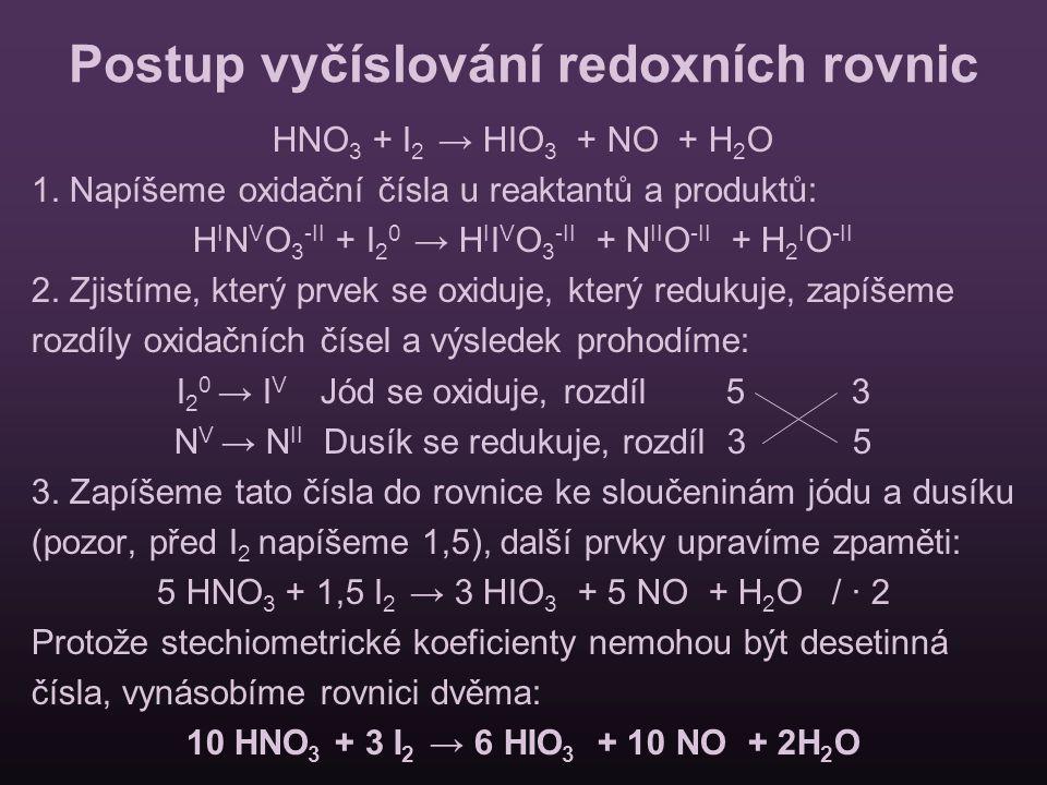 Postup vyčíslování redoxních rovnic