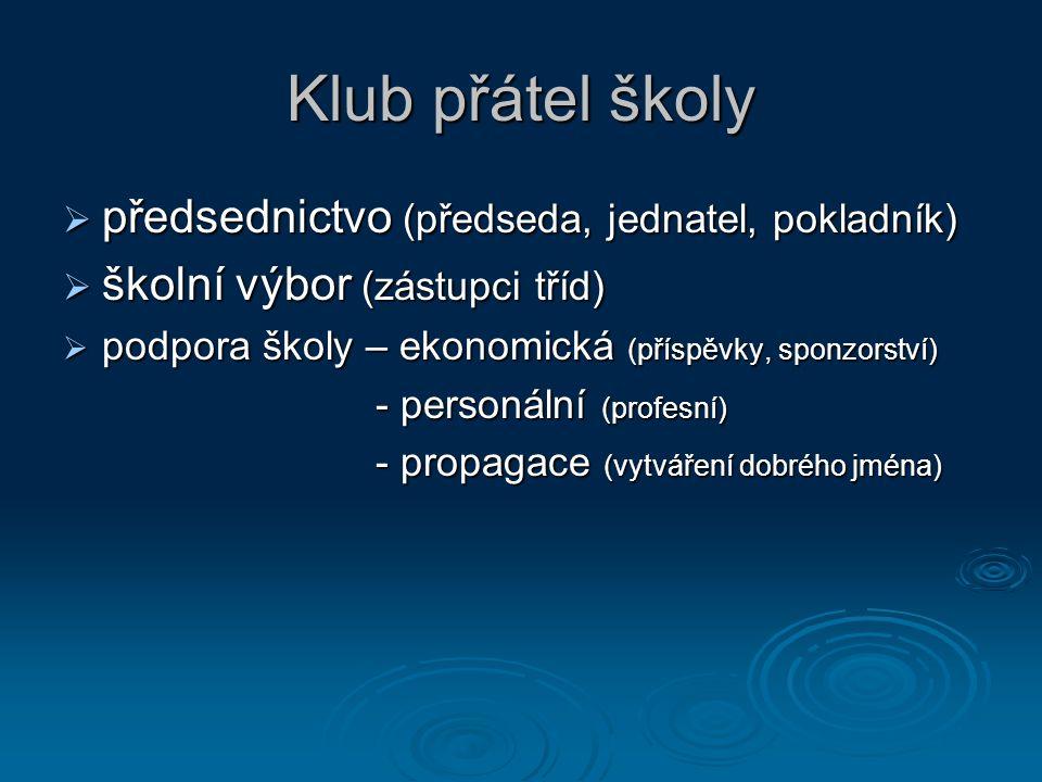 Klub přátel školy předsednictvo (předseda, jednatel, pokladník)