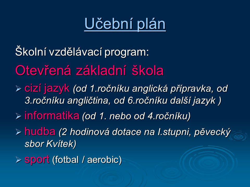 Učební plán Otevřená základní škola Školní vzdělávací program: