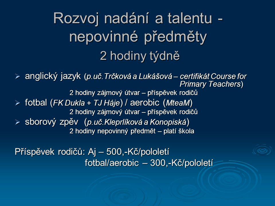 Rozvoj nadání a talentu - nepovinné předměty 2 hodiny týdně