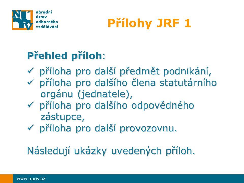Přílohy JRF 1 Přehled příloh: příloha pro další předmět podnikání,