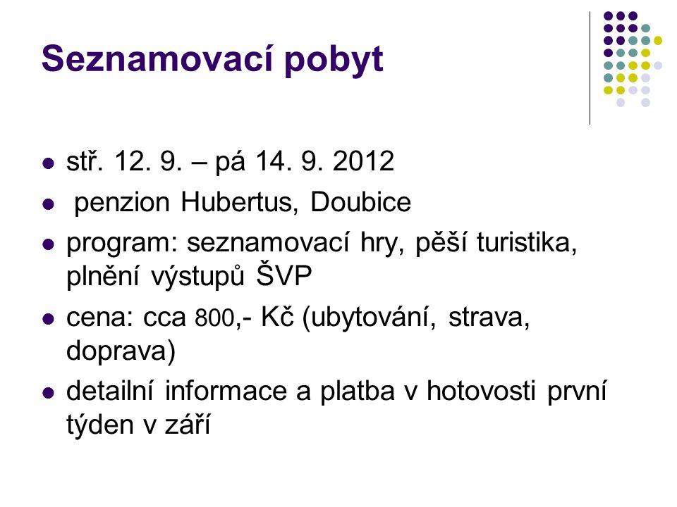 Seznamovací pobyt stř. 12. 9. – pá 14. 9. 2012