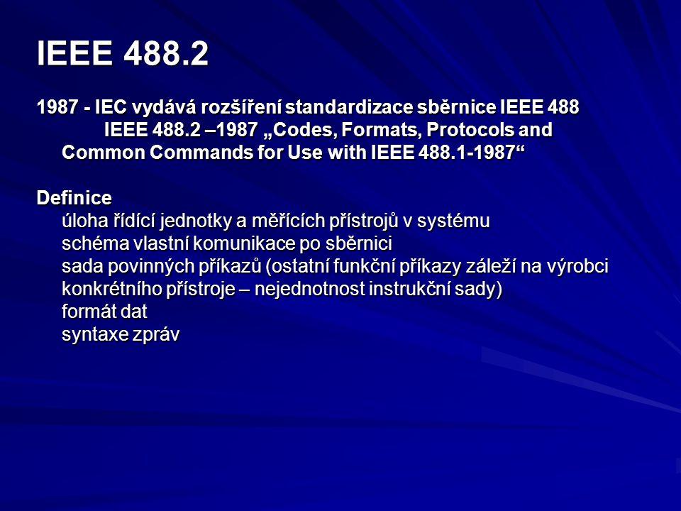 IEEE 488.2 1987 - IEC vydává rozšíření standardizace sběrnice IEEE 488