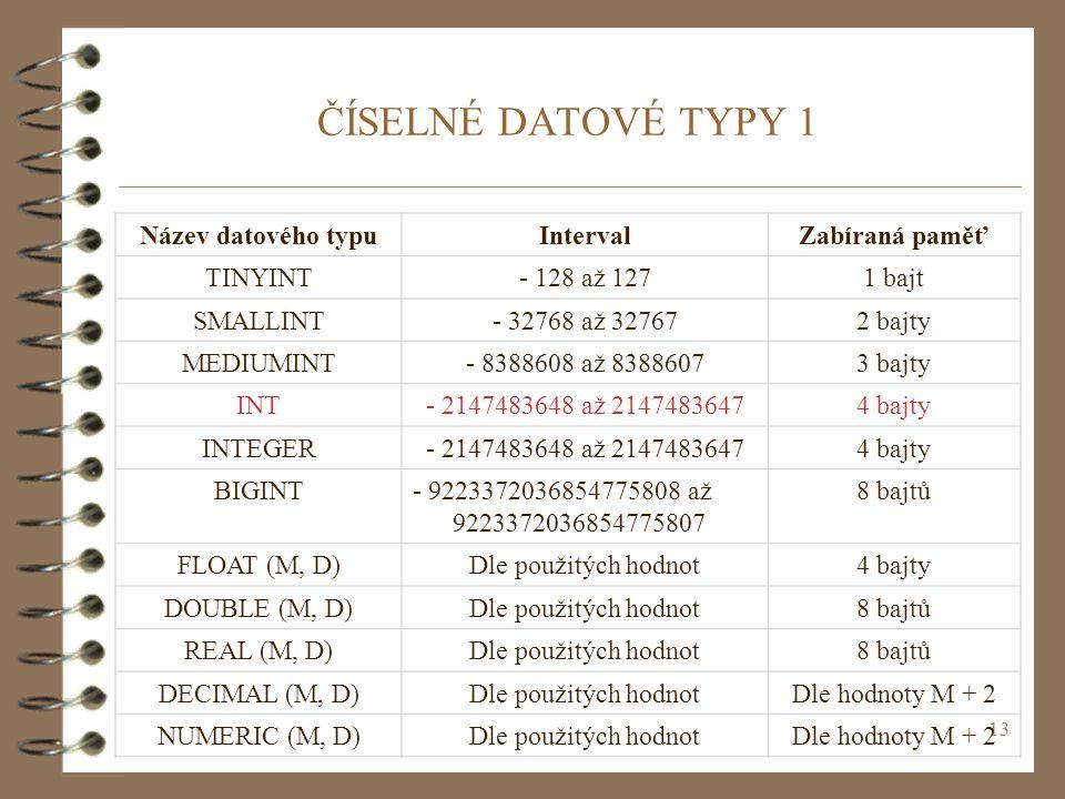 ČÍSELNÉ DATOVÉ TYPY 1 Název datového typu Interval Zabíraná paměť