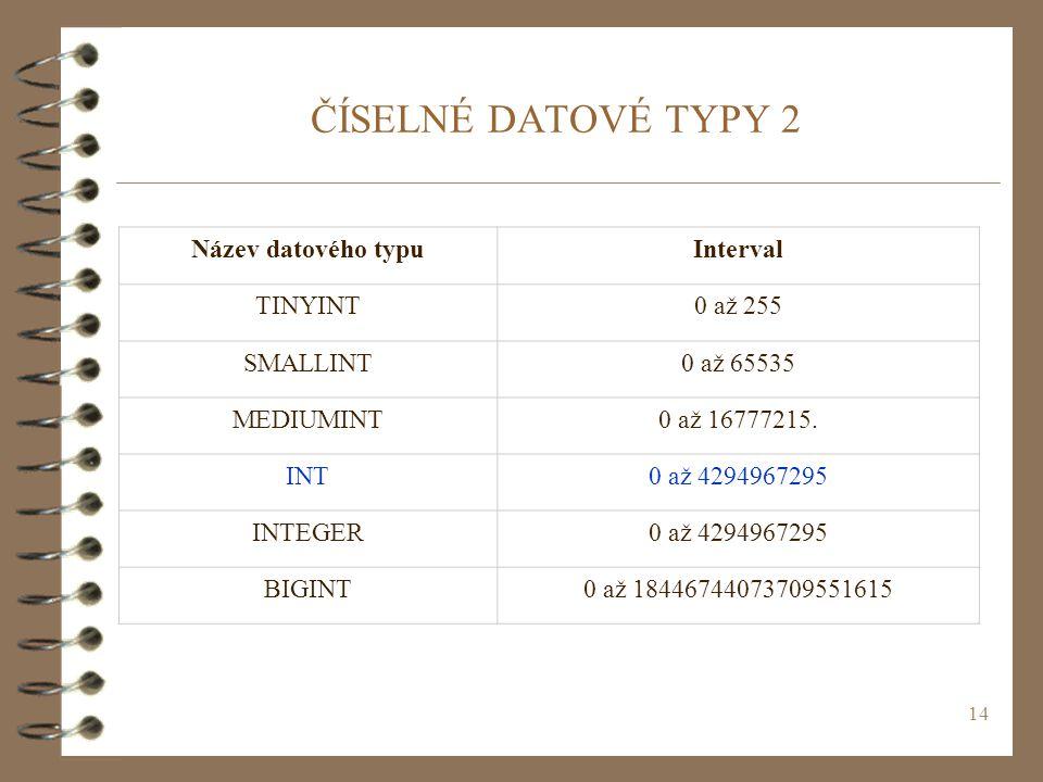 ČÍSELNÉ DATOVÉ TYPY 2 Název datového typu Interval TINYINT 0 až 255