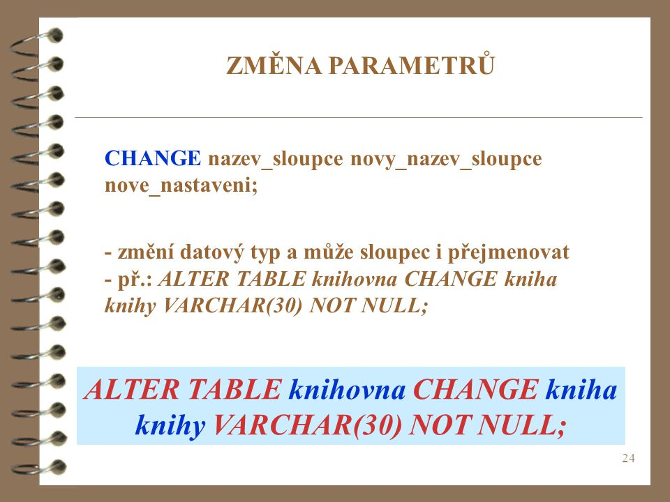 ALTER TABLE knihovna CHANGE kniha knihy VARCHAR(30) NOT NULL;