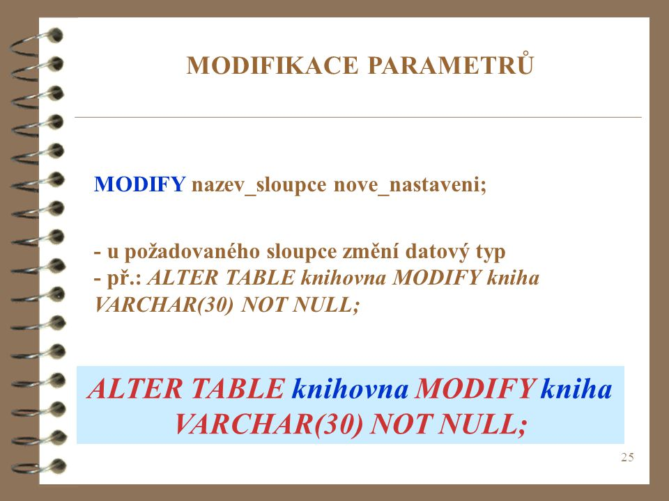 ALTER TABLE knihovna MODIFY kniha VARCHAR(30) NOT NULL;