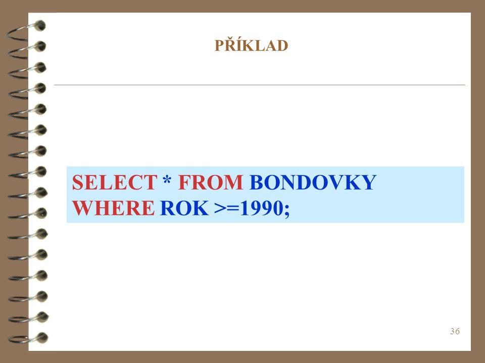 SELECT * FROM BONDOVKY WHERE ROK >=1990;