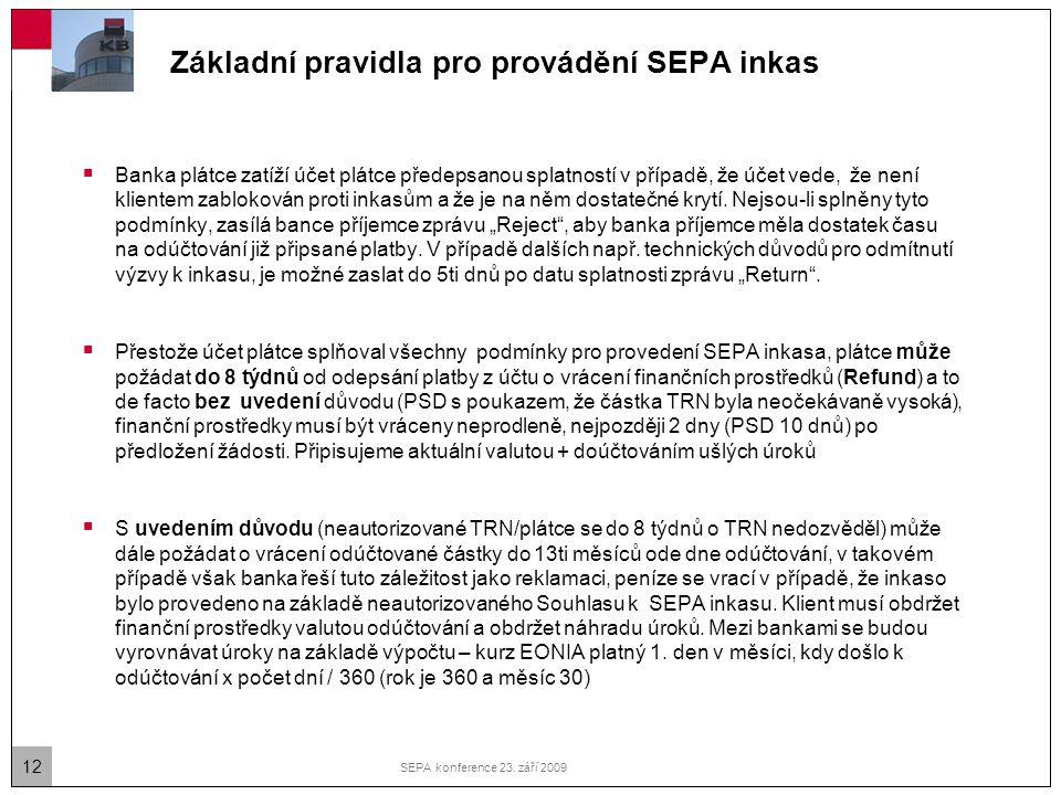 Základní pravidla pro provádění SEPA inkas