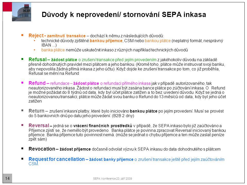 Důvody k neprovedení/ stornování SEPA inkasa