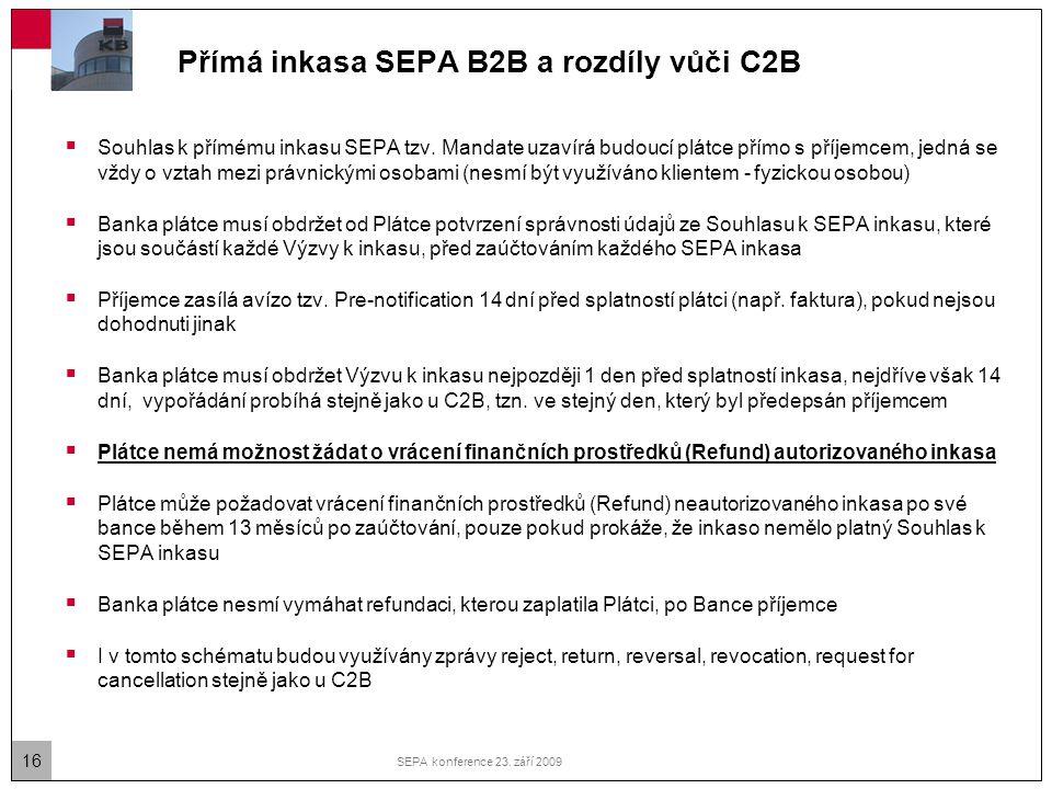 Přímá inkasa SEPA B2B a rozdíly vůči C2B