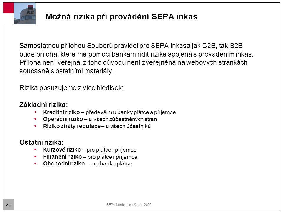 Možná rizika při provádění SEPA inkas