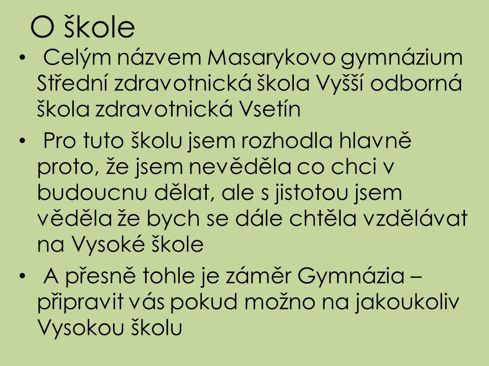 O škole Celým názvem Masarykovo gymnázium Střední zdravotnická škola Vyšší odborná škola zdravotnická Vsetín.