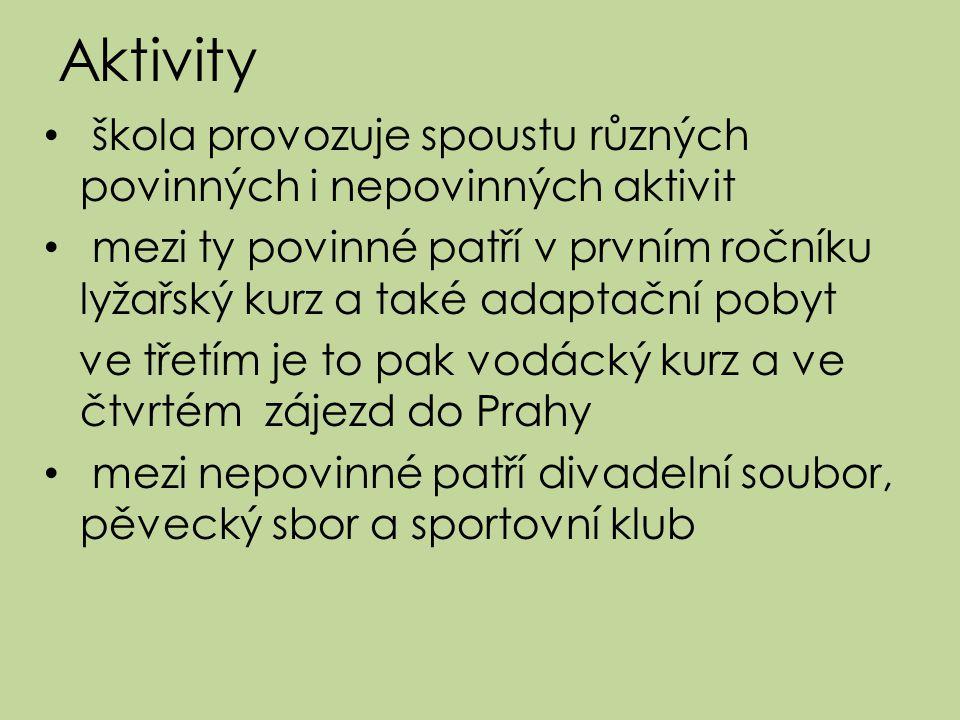 Aktivity škola provozuje spoustu různých povinných i nepovinných aktivit.