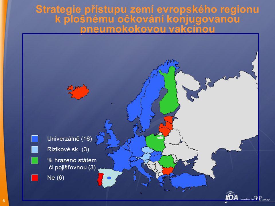 Strategie přístupu zemí evropského regionu k plošnému očkování konjugovanou pneumokokovou vakcínou