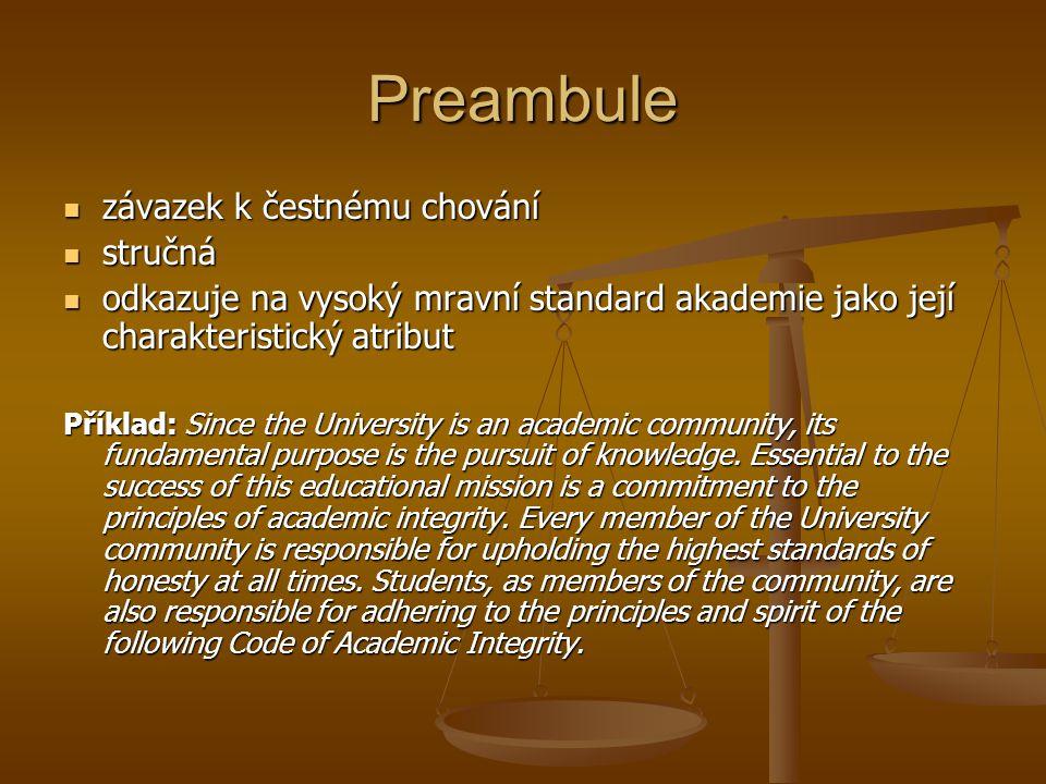 Preambule závazek k čestnému chování stručná