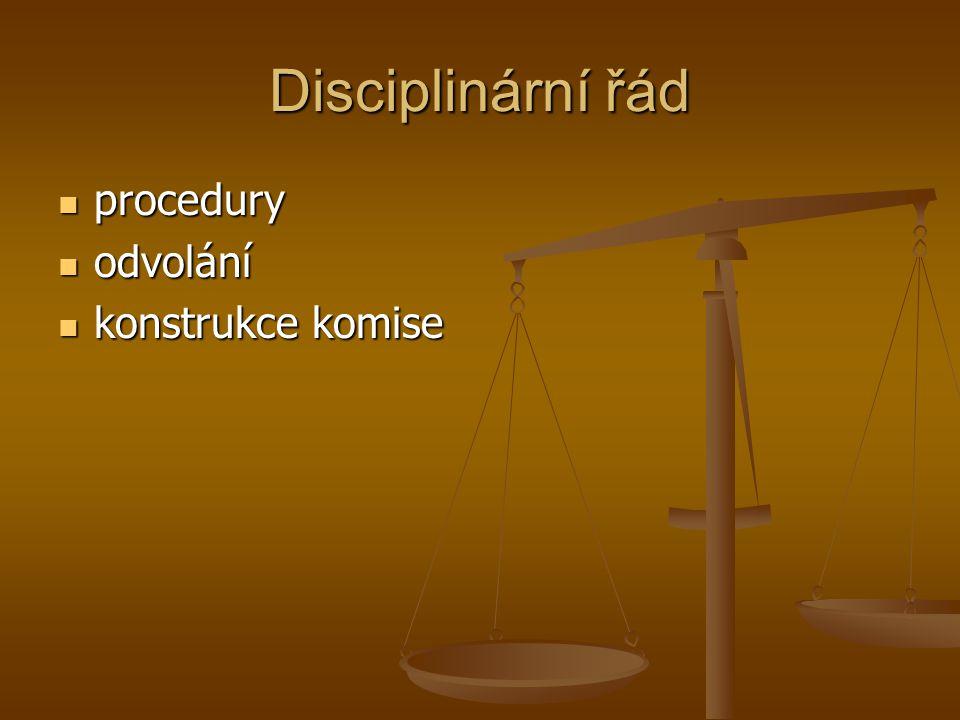 Disciplinární řád procedury odvolání konstrukce komise