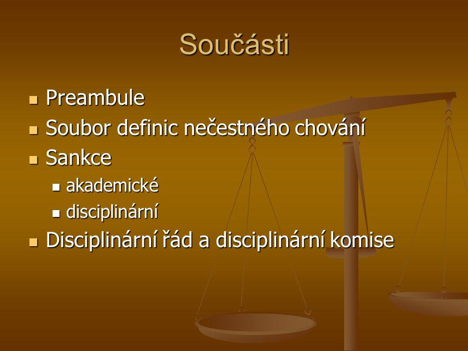 Součásti Preambule Soubor definic nečestného chování Sankce