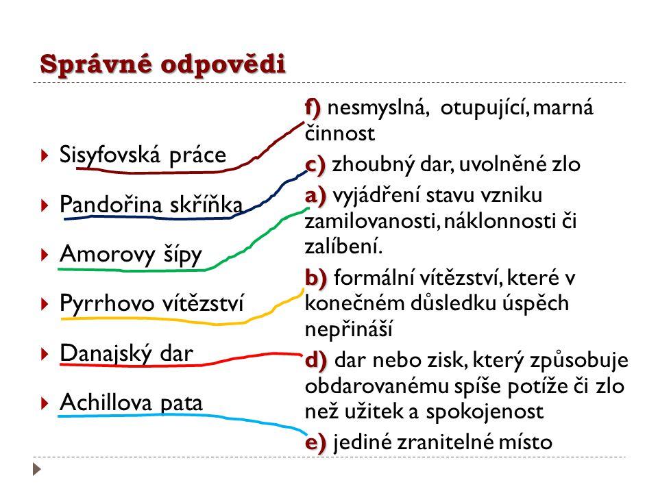 Správné odpovědi Sisyfovská práce Pandořina skříňka Amorovy šípy
