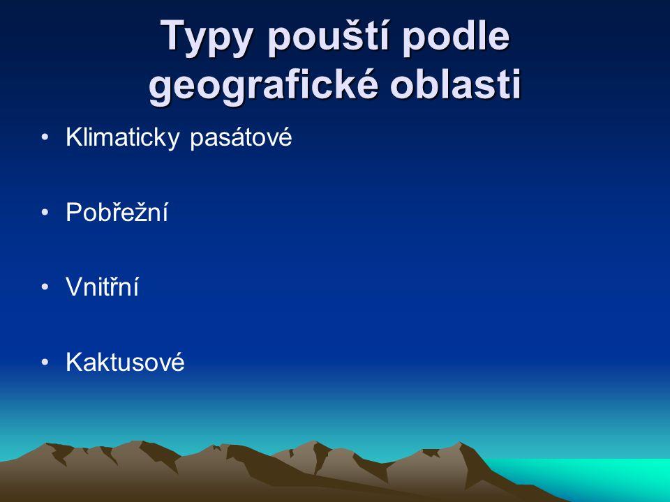 Typy pouští podle geografické oblasti