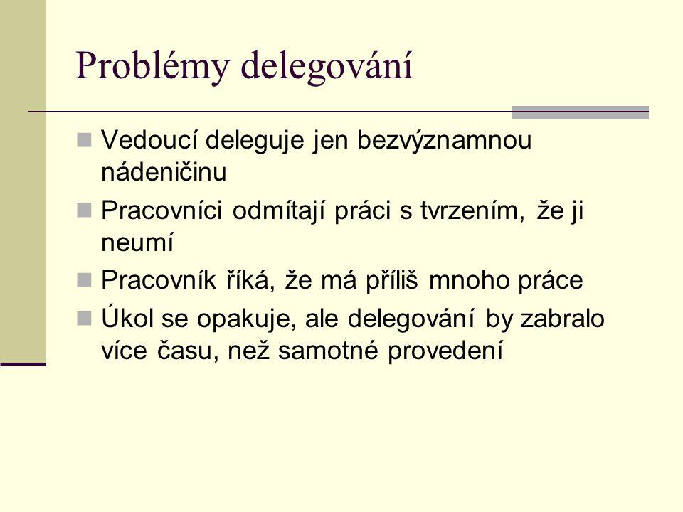 Problémy delegování Vedoucí deleguje jen bezvýznamnou nádeničinu