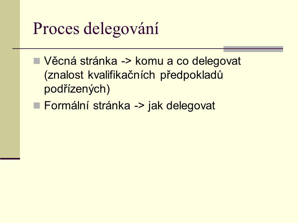 Proces delegování Věcná stránka -> komu a co delegovat (znalost kvalifikačních předpokladů podřízených)