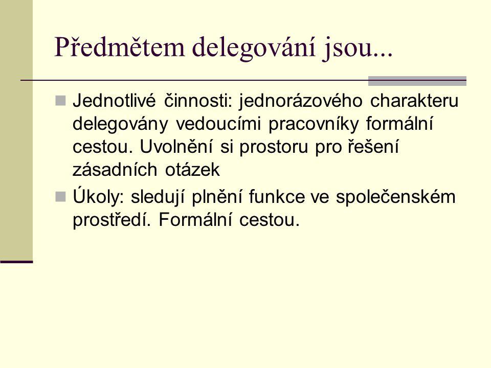 Předmětem delegování jsou...