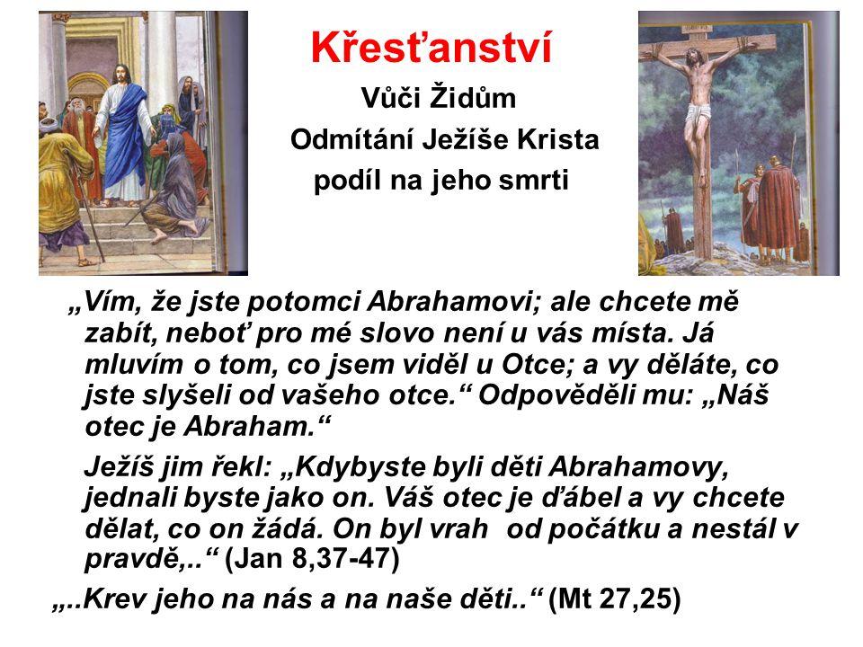Křesťanství Vůči Židům Odmítání Ježíše Krista podíl na jeho smrti