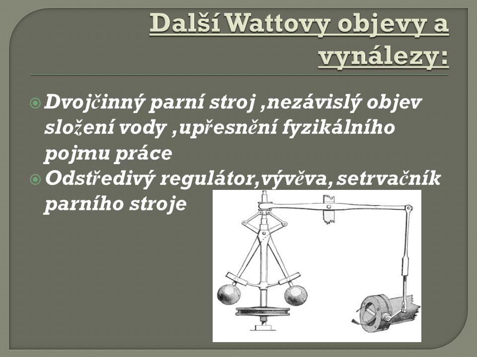 Další Wattovy objevy a vynálezy: