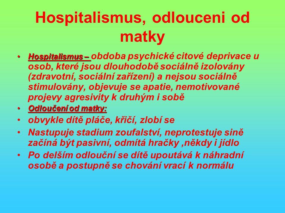 Hospitalismus, odlouceni od matky