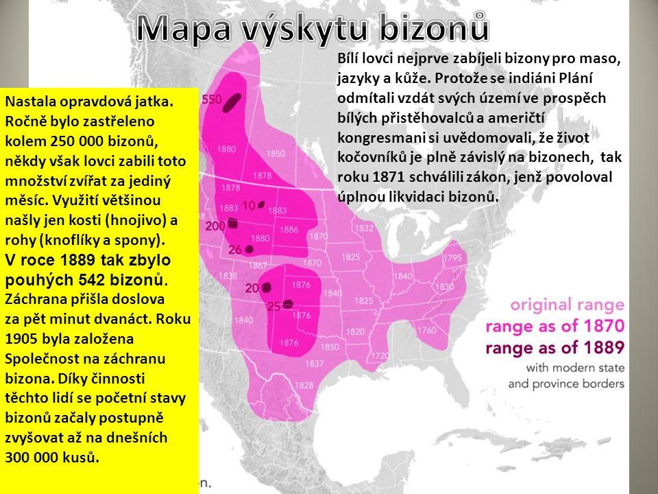 Mapa výskytu bizonů