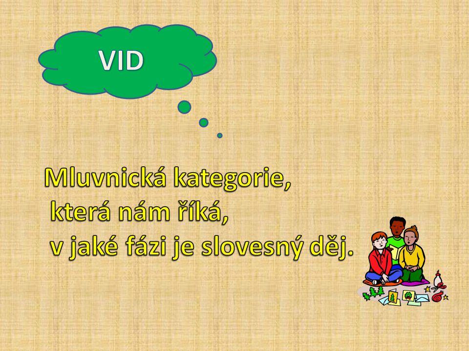 VID Mluvnická kategorie, která nám říká, v jaké fázi je slovesný děj.