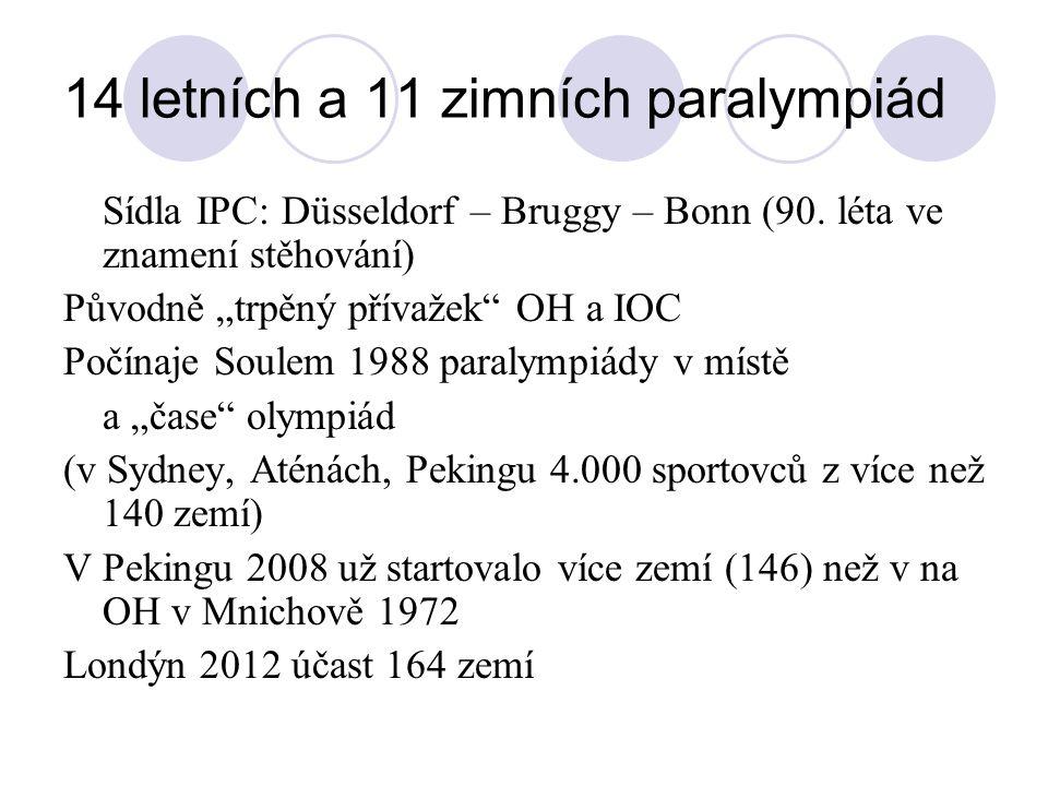 14 letních a 11 zimních paralympiád