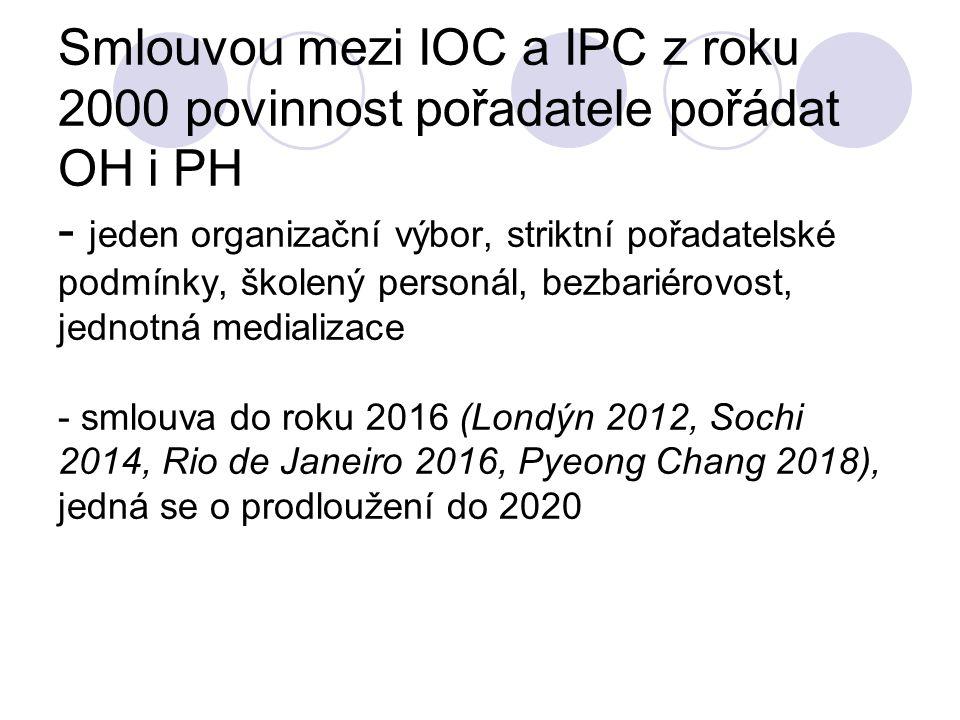 Smlouvou mezi IOC a IPC z roku 2000 povinnost pořadatele pořádat OH i PH - jeden organizační výbor, striktní pořadatelské podmínky, školený personál, bezbariérovost, jednotná medializace - smlouva do roku 2016 (Londýn 2012, Sochi 2014, Rio de Janeiro 2016, Pyeong Chang 2018), jedná se o prodloužení do 2020