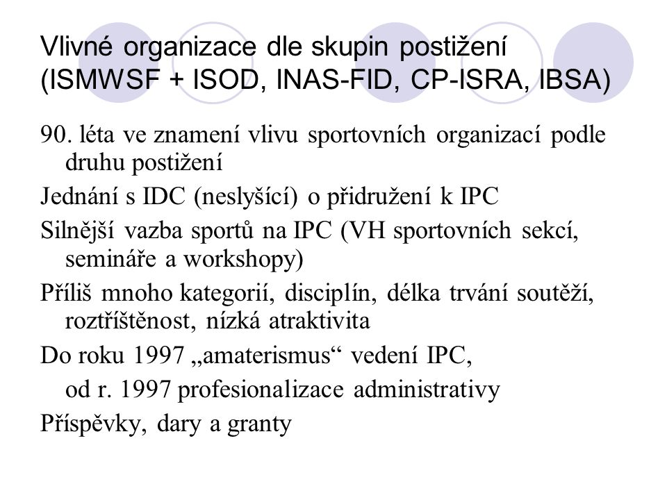 Vlivné organizace dle skupin postižení (ISMWSF + ISOD, INAS-FID, CP-ISRA, IBSA)