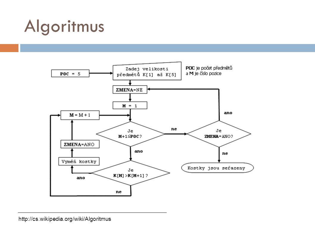 Algoritmus http://cs.wikipedia.org/wiki/Algoritmus