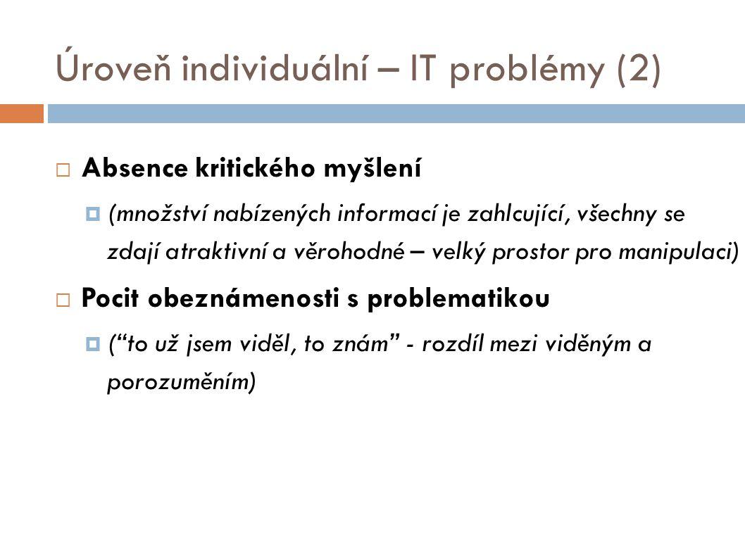 Úroveň individuální – IT problémy (2)