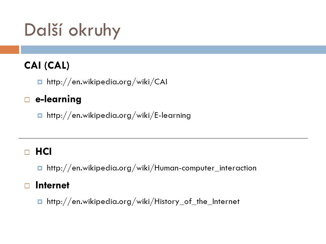 Další okruhy CAI (CAL) e-learning HCI Internet